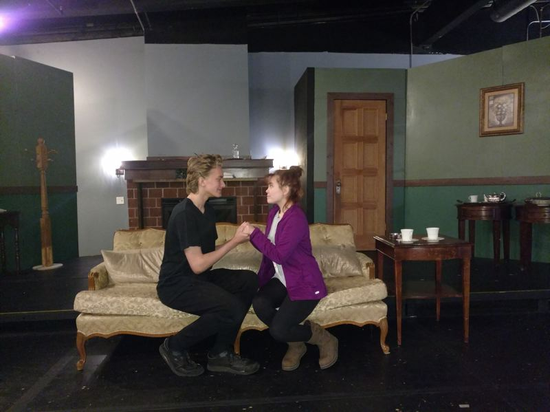 CONTRIBUTED PHOTO: SALT ACADEMY - Bryan Cebula and Natasha Pirisino rehearse for the parts of Ernest Worthing and Gwendolyn Fairfax in Oscar Wilde's 'The Importance of Being Earnest,' presented by the SALT Academy and Performing Arts Co.