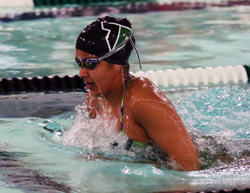 TIMES PHOTO: DAN BROOD - Tigard High School senior Sahana Saravanan won both the 100 breaststroke and the the 100 freestyle races during the Tigers' meet with Tualatin.
