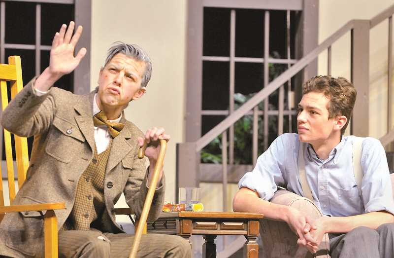 GARY ALLEN - Newberg High School students Micah Schmidt (left) and Nicholas Vece appear in the school drama troupe's production of the comedy 'George Washington Slept Here.'