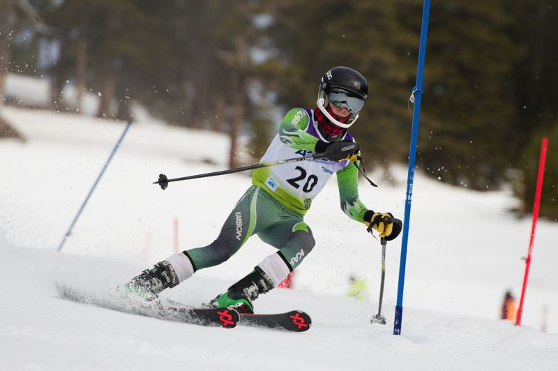PHOTO COURTESY OF MIKE JULIANA - Tigard's Nathan Saier competes in Saturday's Metro League slalom race.