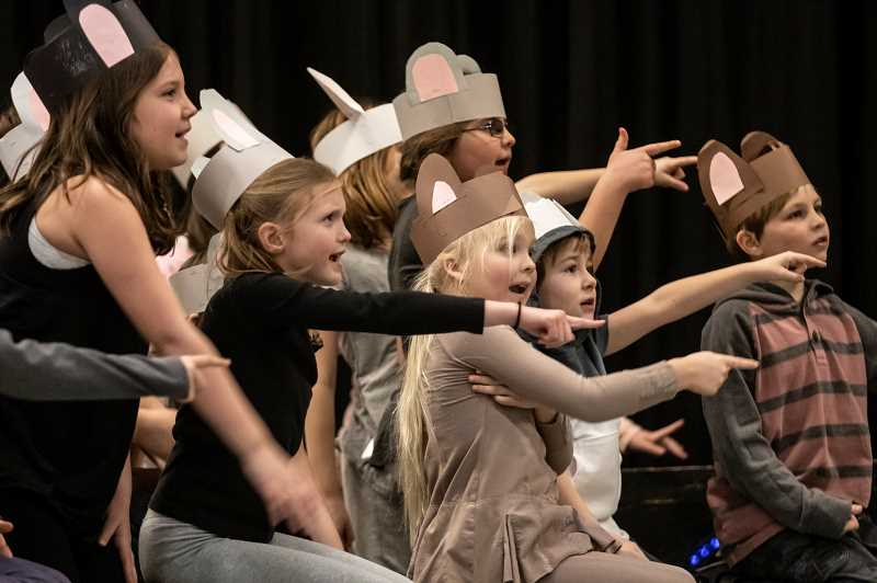 TIDINGS PHOTO: JONATHAN HOUSE - Young actors and actresses play mice during dress rehearsal for Roald Dahl's 'World of Words.'