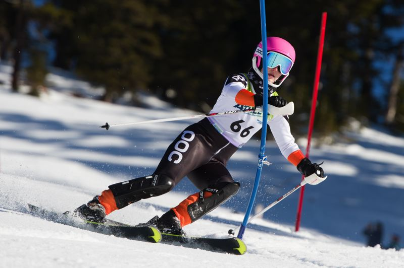 PHOTO COURTESY OF MIKE JULIANA - Tigard's Megan Wargo competes in Saturday's Metro League ski race.