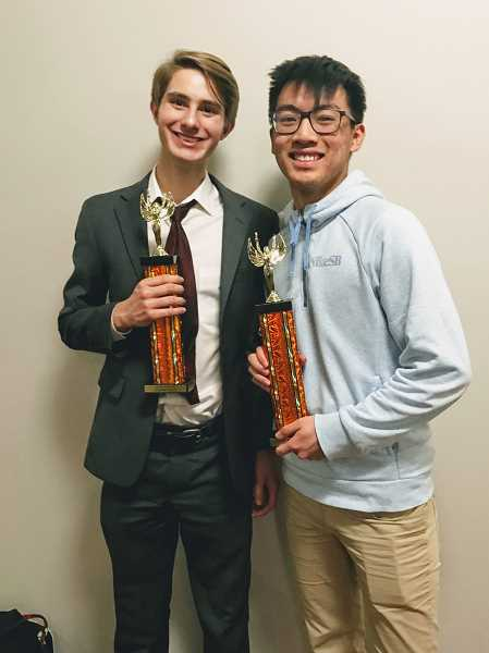CONTRIBUTED  - Haydn Maust earned first speaker during the preliminary rounds at the Jean Ward Invitational Jan. 20. Dennis Tang won tournament champion.