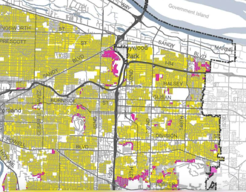 COURTESY: PORTLAND BUREAU OF PLANNING AND SUSTAINABILITY  - Map illustrates that the bulk of Portland's single-family neighborhoods—those shown in yellow—would be rezoned to allow more fourplexes, triplexes, duplexes and accessory dwelling units.