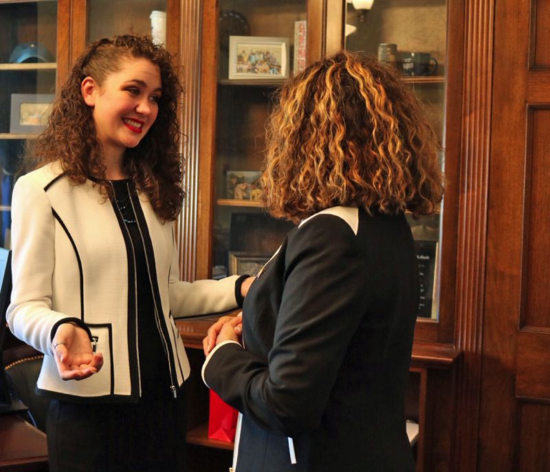 SUBMITTED PHOTO: NATALIE CROFTS - Alexandria Goddard, a PSU student originally from Sunset High School, left, talks to U.S. Rep. Lucy McBath, D-Ga., on Tuesday.