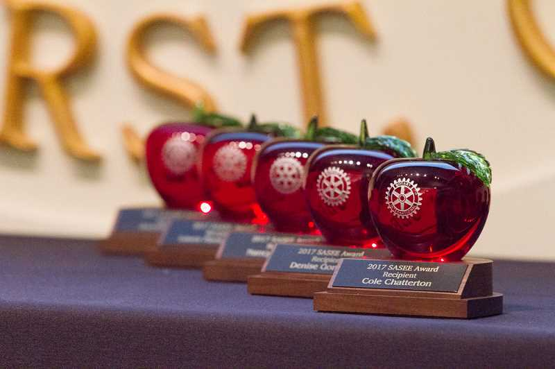 BRIAN GERATHS/PHOTO MEDIA PRODUCTIONS - Red-apple trophies will go to 10 honorees Feb. 27 when the Lake Oswego Rotary Club hands out its Service Above Self: Educational Excellence awards.