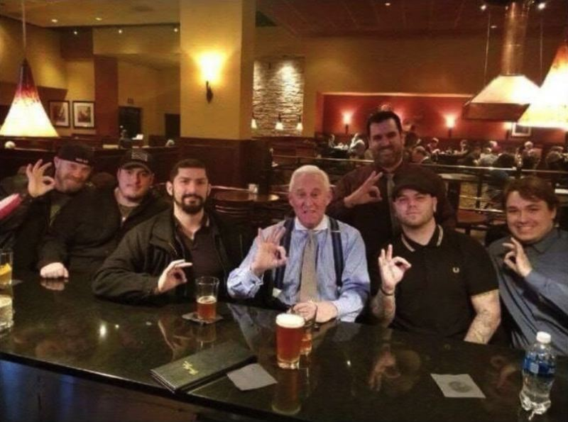 ALEX JONES TWITTER ACCOUNT, VIA REDDIT - Longtime Donald Trump adviser Roger Stone (center) visited Oregon last year to sell books and raise money for his defense against a Robert Mueller indictment that was filed last month.; He' shown here with supporters, including some members of the controversial group Proud Boys, at Bentley's Grill in Salem.