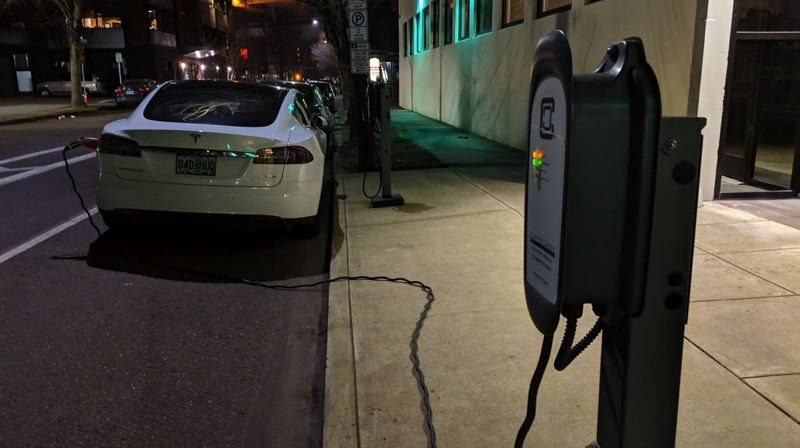 PMG PHOTO: JOSEPH GALLIVAN - A Tesla charging overnight outside Jaguar Land Rover's incubator in Slabtown.
