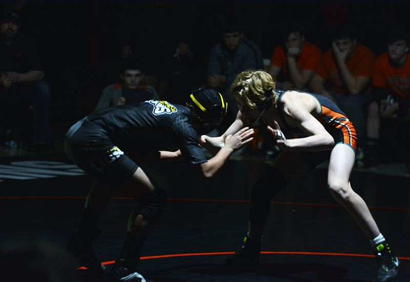 PAMPLIN MEDIA GROUP PHOTO: MATTHEW SINGLEDECKER - AJ DeGrande (right) of Scappoose will be a contender at 120 pounds in this weekend's Class 5A Northwest Oregon Conference championships.