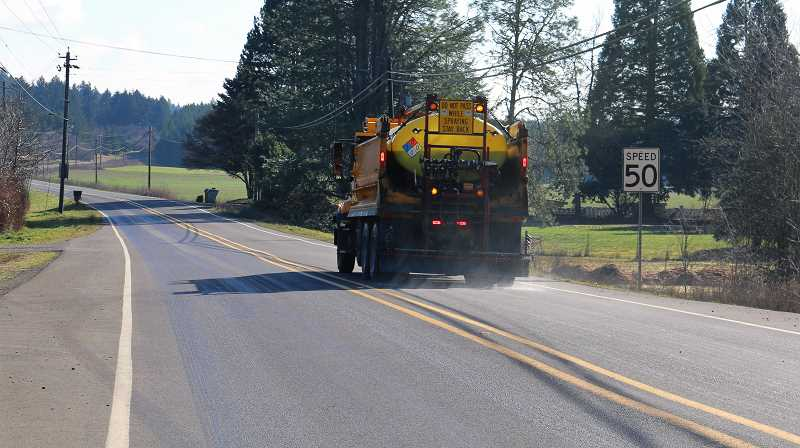 WASHINGTON COUNTY DEPARTMENT OF LAND USE AND TRANSPORTATION.  - Washington County Department of Land Use and Transportation trucks are geared up to work three, 8-hour shifts Saturday through Monday to keep up with predicted snow and ice.