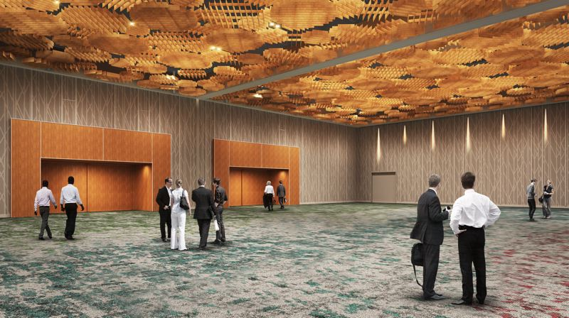 COURTESY: OREGON CONVENTION CENTER - The third phase of the renvoation will focus on the 25,000-square-foot Oregon Ballroom, which will receive a new ceiling treatment along with carpeting and wood accents.