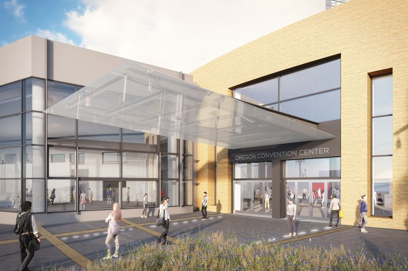 COURTESY: OREGON CONVENTION CENTER - A $39 million renovation currently under way at the Oregon Convention Center includes an updated entrance on Martin Luther King Junior Boulevard, a revamped north plaza area and interior improvements