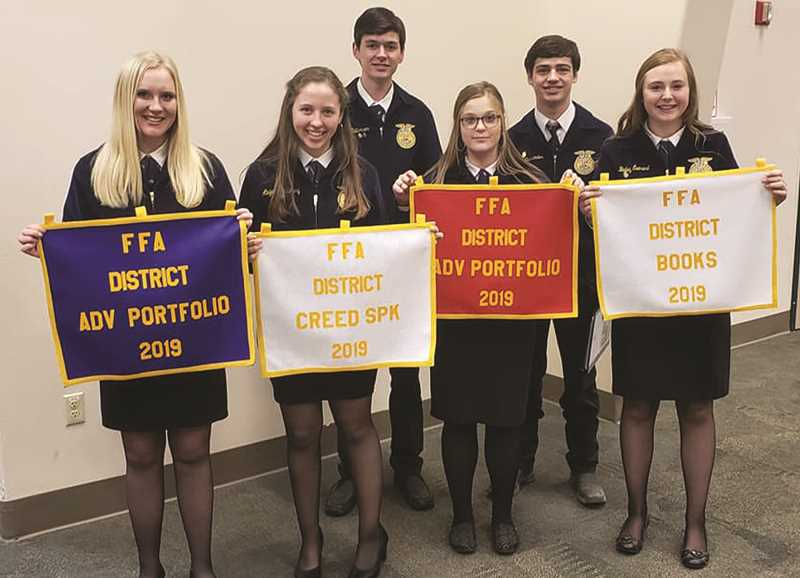 PHOTO COURTESY OF DAN MCNARY  - The Central Oregon District FFA hosted a leadership convention in Redmond Jan. 28-29. Left to right: Daisy Forseth earned first place in Advanced Portfolio and Gold Sheep Production Proficiency; Abigayle McNary earned third place in Creed Speaking; Cade Catterson earned a State Degree and Gold Swine Production Proficiency; Raquel Middaugh earned second place in Advanced Portfolio, earned a State Degree, and Silver Swine Production Proficiency; Cade Ostrander earned Gold Forage Production Proficiency and Gold Diversified Agriculture Proficiency; and Bailey Everest holds the award for Crook County earning third place in the Chapter Books event.