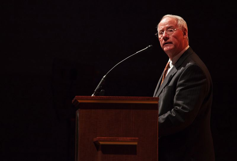 PAMPLIN MEDIA GROUP FILE PHOTO - OSU President Ed Ray made a pitch for more state funding for higher education during his state of the college speech Thursday, Feb. 7.