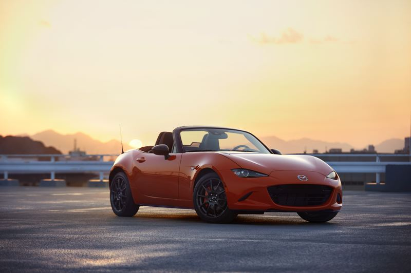 COURTESY MAZDA - The 30th Anniversary 2019 Mazda MX-5 Miata is offered in a bold new Racing Orange.