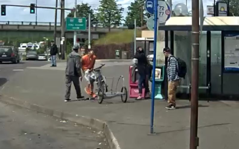 VIA TRIMET - This still from a transit camera shows the aftermath of a shooting involving Michael Adams and Shannon Daignault.