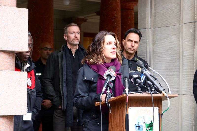 TRIBUNE PHOTO: ZANE SPARLING - Multnomah County Chair Deborah Kafoury also spoke during a winter storm warning press conference at City Hall on Friday, Feb. 8.