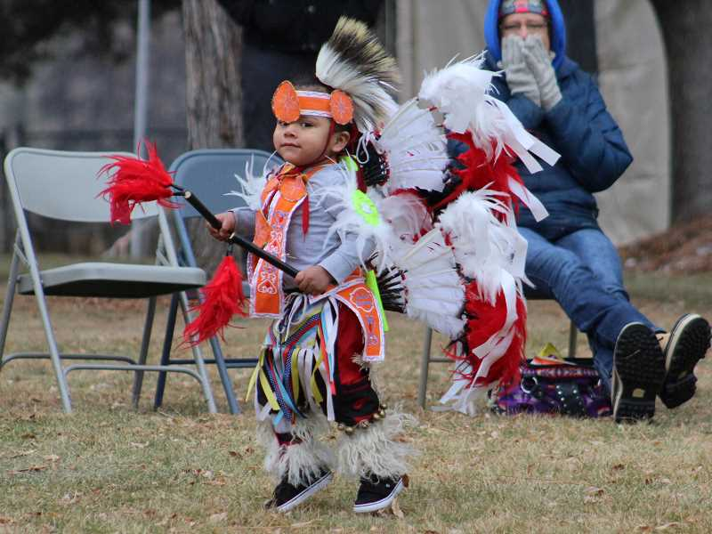 HOLLY M. GILL/MADRAS PIONEER - Asher Stwyer, then 3, dances at the 2018 Eagle Watch, as part of the Quartz Creek Drummers and Dancers, which will return to this year's event, Feb. 23-24.