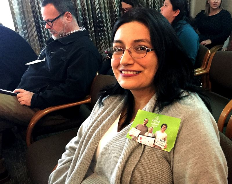 PAMPLIN MEDIA GROUP: PARIS ACHEN - Salem resident Paula Pena attended a hearing on a bill to ease Oregon's housing crisis because her parents' rent nearly doubled in 18 months.