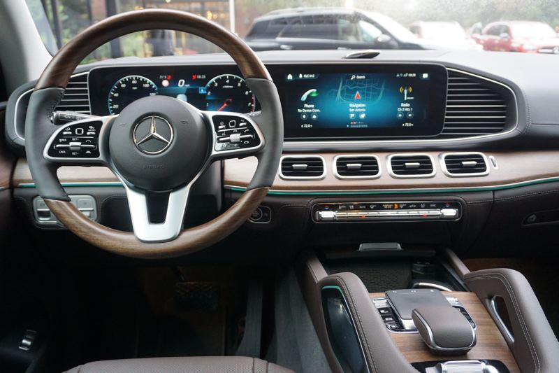 PORTLAND TRIBUNE: JEFF ZURSCHMEIDE - The wide dash in the 2020 Mercedes-Benz GLE features two display screens, including the center one that offers information through a new system called the Mercedes-Benz User eXperience, or MBUX.