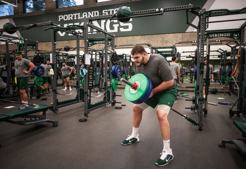 TRIBUNE PHOTO: JONATHAN HOUSE - Junior college transfer John Krahn, 6-10 and 400-some pounds, is a candidate to start on the offensive line at Portland State.
