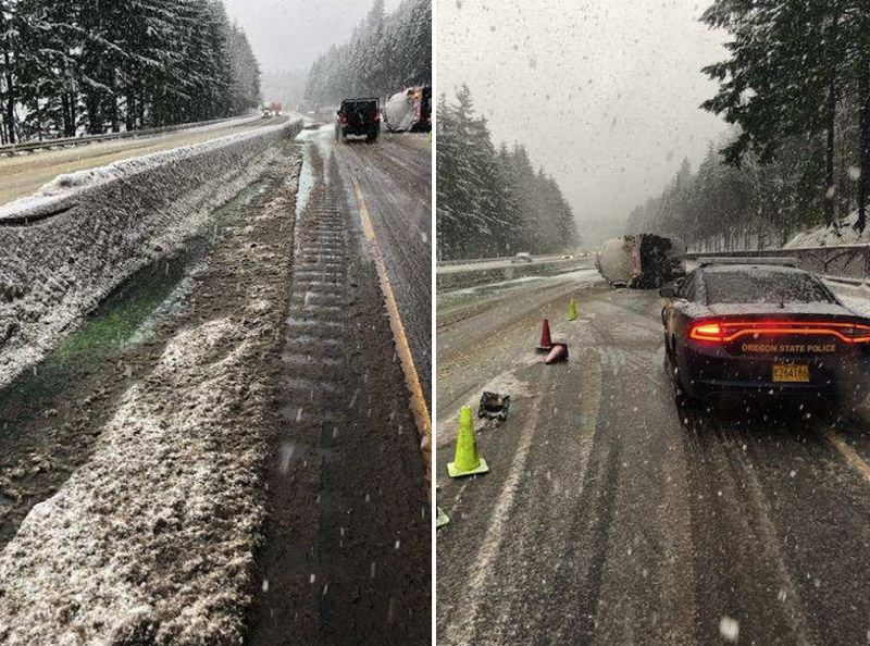 VIA OSP - Oregon State Police responded to a crash involving a Space Age truck hauling diesel fuel on Interstate 84 on Monday, Feb. 1.