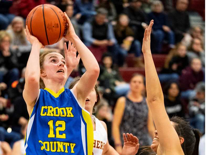 LON AUSTIN/CENTRAL OREGONIAN - Dallas Hutchins, shown in a game earlier this year, led the Cowgirls in scoring on Thursday in Pendleton with 14 points. Crook County lost the game 64-33.