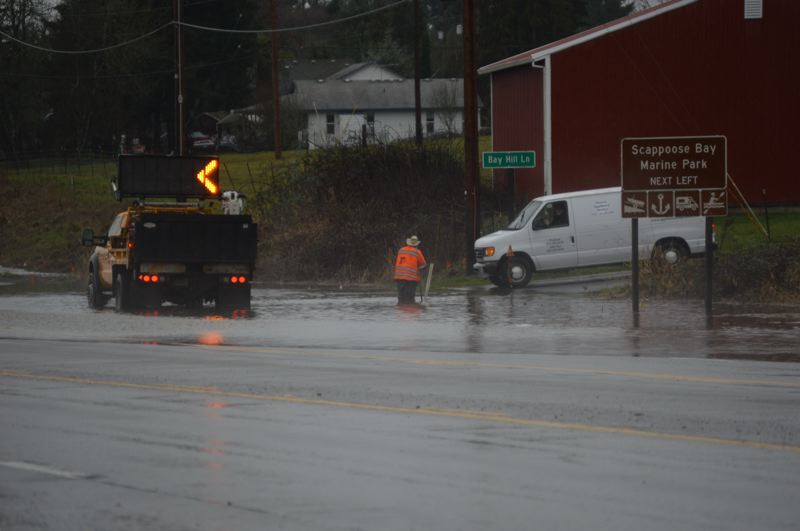 SPOTLIGHT PHOTO: NICOLE THILL-PACHECO - Flooding near Highway 30 and Bay Hill Lane around 11 a.m., Tuesday Feb. 12.