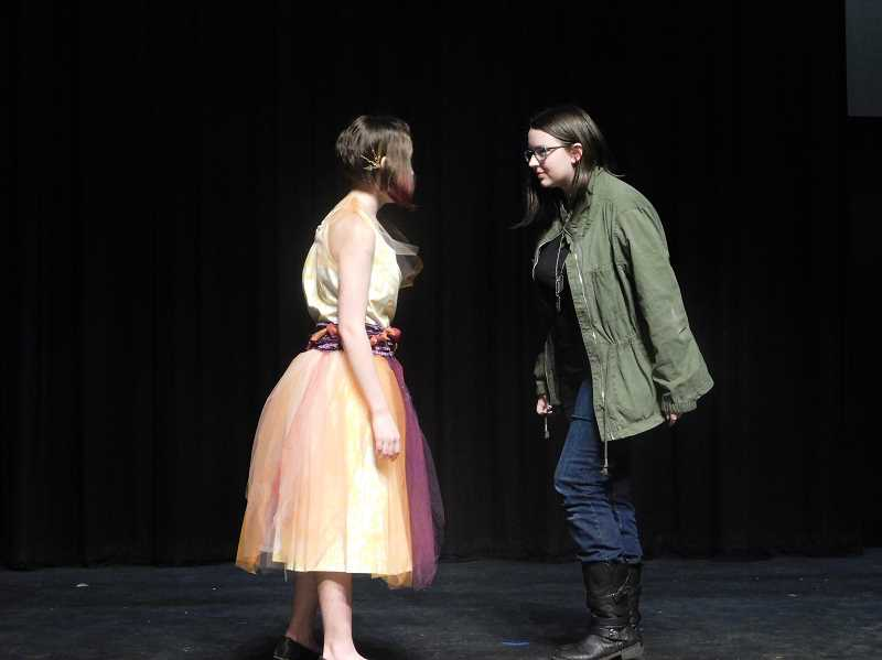 ARCHIVE PHOTO - Kae Nestor and Alleah Schwab act in the Performing Arts Group of Estacada's production of 'Sunday Night' last year.