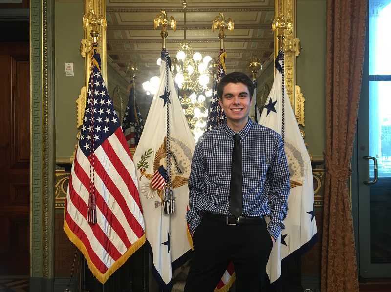 SPECIAL TO THE WOODBURN INDEPENDENT - Chemeketa Community College freshman, Marcos Sanchez of Mount Angel, was among a handful of students selected to meet Vice President Mike Pence during a week that featured a March for Life rally in Washington D.C.