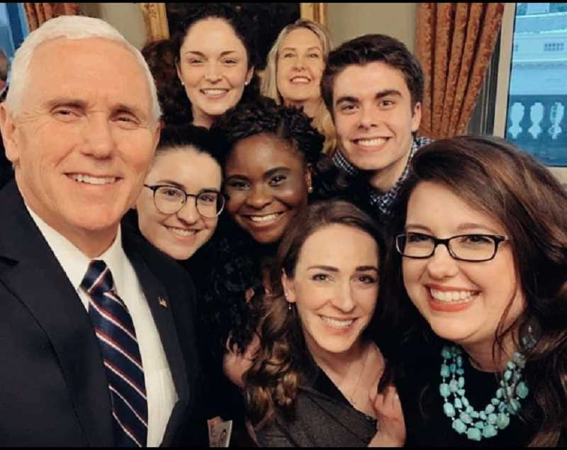 SPECIAL TO THE WOODBURN INDEPENDENT - Chemeketa Community College freshman, Marcos Sanchez of Mount Angel, middle row right, was among a handful of students selected to meet Vice President Mike Pence during a week that featured a March for Life rally in Washington D.C.
