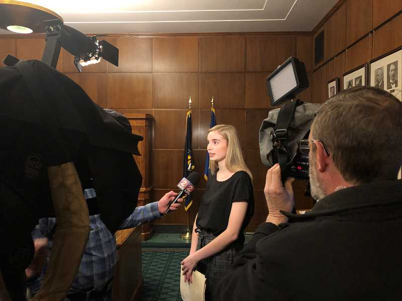 SUBMITTED PHOTO - Hailey Hardcastle attends a press conference on Feb. 12 to promote two bills to fund the ORegon Safe to Learn Act.
