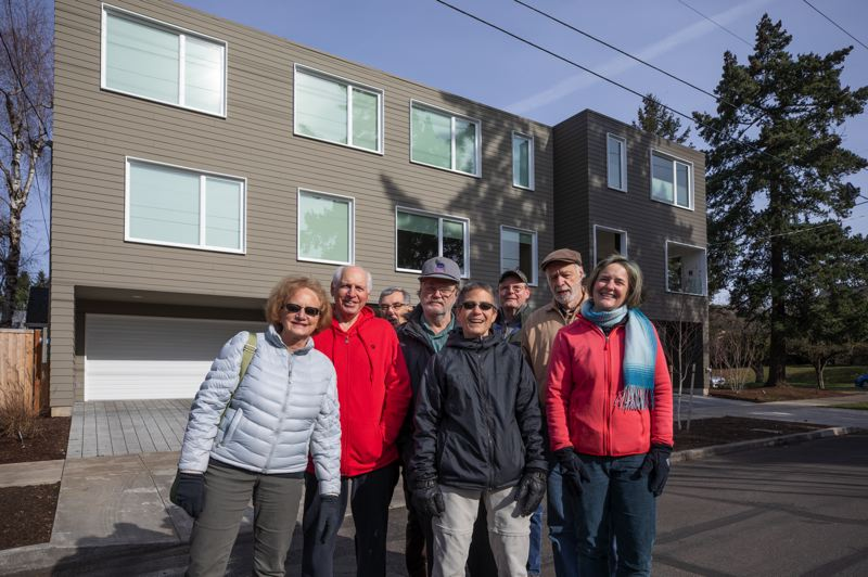 PORTLAND TRIBUNE: JONATHAN HOUSE - Residential Infill Project critics stand in front of two large duplexes in Northeast Portland. Supporters say only one could be build under the current plan. But Margaret Davis (right) says even one is too big.