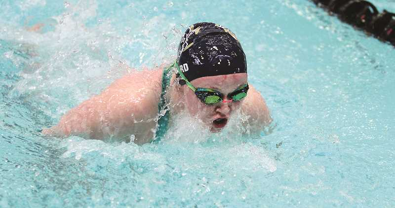 PAMPLIN MEDIA GROUP PHOTO: MILES VANCE - Canby's Mairen Chard will be the Cougars' lone representative at the state swim meet on Friday, Feb. 15 in the 100-yard butterfly and 100-yard