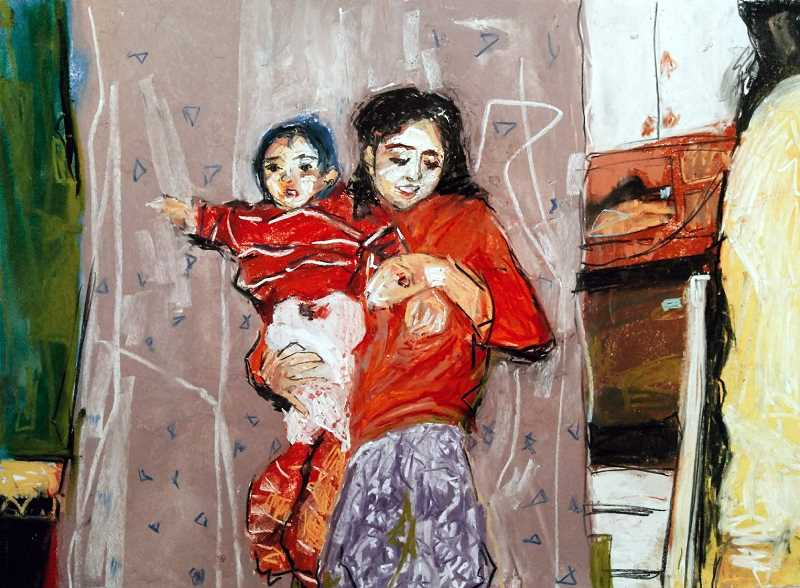SUBMITTED PHOTO  - Chau Nguyens painting Mother and Child is part of the HERE Now: Art Inspired by the Immigrant Experience exhibit at the Arts Council of Lake Oswego.
