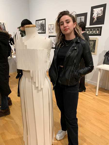 SUBMITTED PHOTO: SHANNON MCBRIDE - Lakeridge student Zoe Kapp stands next to her creation at the Portland Metro Scholastic Art Awards reception.