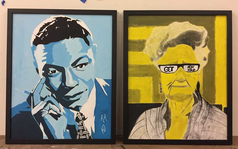 SUBMITTED PHOTO: HEAHTER CROW - These paintings by Riverdale students were chosen to hang in state Sen. Rob Wagner's office in Salem. Left: 'King Nat' by Matthew Reamy. Right: 'Legendary Curry' by Sophia Domreis.
