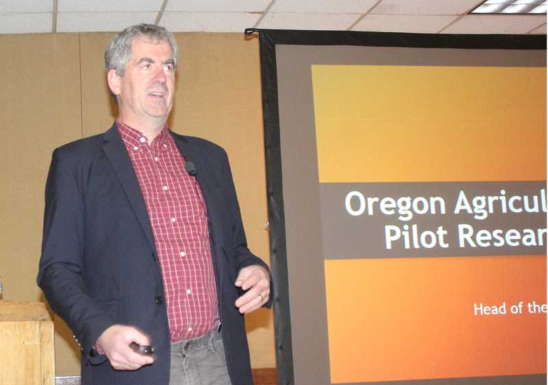SUSAN MATHENY/MADRAS PIONEER - Jay Noller, head of Oregon State University's Crop and Soil Sciences, discusses his research on growing industrial hemp during the Farm Fair Feb. 6, at the Jefferson County Fairgrounds.