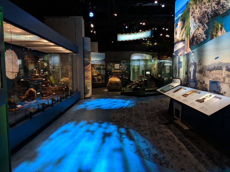 COURTESY: OREGON HISTORICAL SOCIETY - A river runs through it: The 'Experience Oregon' exhibit at Oregon Historical Society has themes that include land and water (including an illuminated 'river'). The permanent exhibit opens Thursday, Feb. 14.