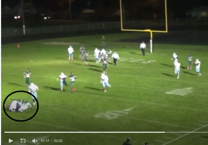 COURTESY PHOTO: RENEE BOLAND - Among the documents Renee Boland requested from Parkrose High School were video football games including this clip, from hudl.com, showing her son sustaining a concussion in a Dec. 18, 2015 game against Liberty High.