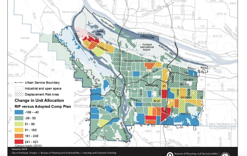 COURTESY PORTLAND BUREAU OF PLANNING AND SUSTAINABILITY  - Neighborhoods in red, orange and yellow — generally working-class areas about five miles or so from downtown — are projected to get the most redevelopment due to the proposed Residential Infill Plan. Areas in blue and darker green — which tend to more affluent neighborhoods most opposed to the infill plan —are projected to get less redevelopment than they would under current zoning.