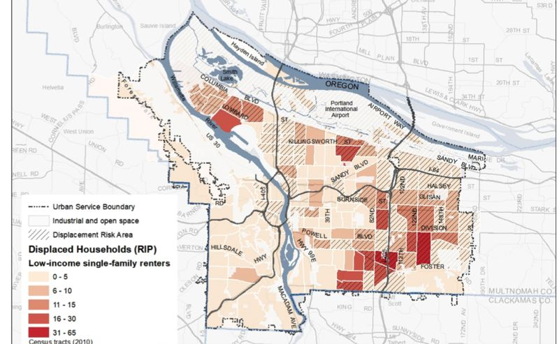 COURTESY PORTLAND BUREAU OF PLANNING AND SUSTAINABILITY  - Neighborhoods in darker colors are expected to have more low-income renters at risk of being displaced from single-family homes by the Residential Infill Project. Closer-in neighborhoods, which tend to be more affluent, face less displacement, though they tend to have more residents fighting against the infill plan.