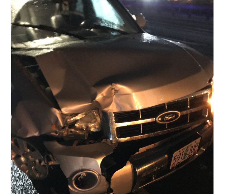 SUBMITTED PHOTO - An 18-year-old woman from Beavercreek driving a Ford Escape survived without injuries, but the vehicle was totaled by a Feb. 1 hit-and-run driver.