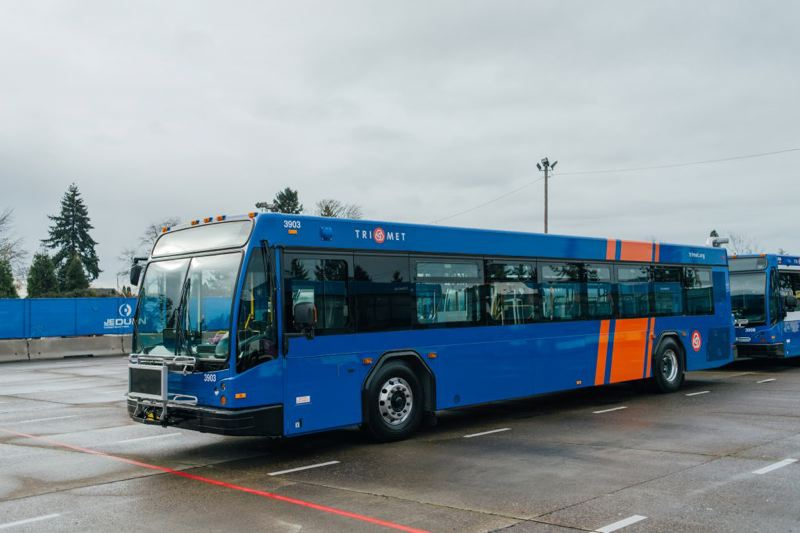 COURTESY TRIMET - A new Gillig 3900-series bus with the new TriMet paint scheme that honors the past.