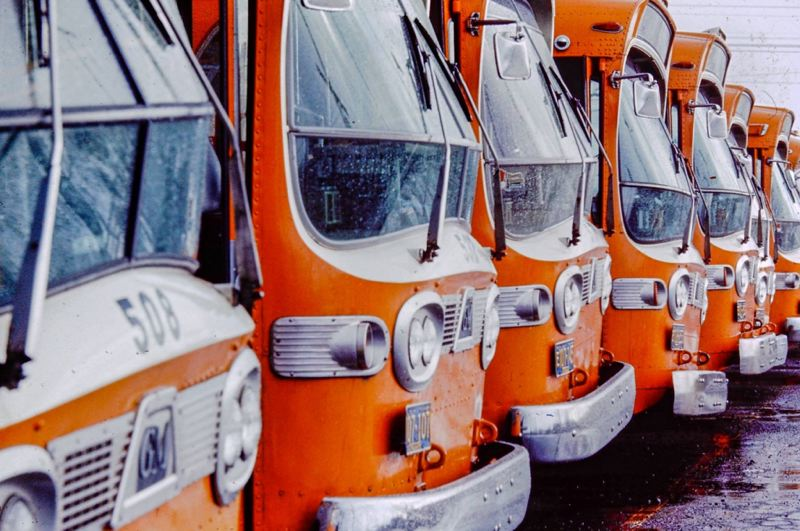 COURTESY TRIMET - The original TriMet bus fleet was orange, the color on the sides of the new buses.