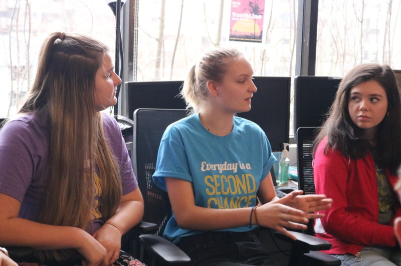 TRIBUNE PHOTO: ZANE SPARLING - A senior at a Portland high school, Katie, center, says concerns about the impact of social media on mental health have prompted her to delete Instagram several times, but she always logs back on eventually.
