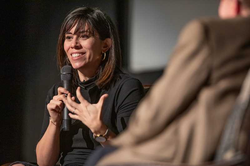 REVIEW PHOTO: JONATHAN HOUSE - Author Cristina Henriquez talks about her novel The Book of Unknown Americans during a Lake Oswego Reads event Wednesday at Lake Oswego High School.