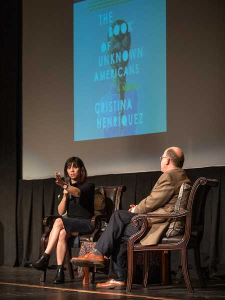 REVIEW PHOTO: JONATHAN HOUSE - Author Cristina Henriquez talks about her novel 'The Book of Unknown Americans' during an informal chat with former Library Director Bill Baars at a Lake Oswego Reads event on Feb. 13.