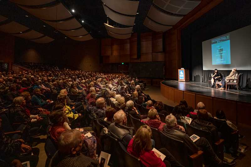 REVIEW PHOTO: JONATHAN HOUSE - Book lovers filled the auditorium at Lake Oswego High School on Feb. 13 to hear author Cristina Henriquez chat with former Library Director Bill Baars about her novel 'The Book of Unknown Americans.'