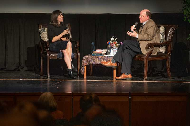 REVIEW PHOTO: JONATHAN HOUSE - Author Cristina Henriquez chats with former Library Director Bill Baars about her novel 'The Book of Unknown Americans' during a Lake Oswego Reads event Feb. 13 at Lake Oswego High School.